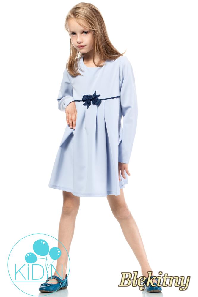 CM2040 Rozkloszowana sukienka dziewczęca z kokardką - błękitna