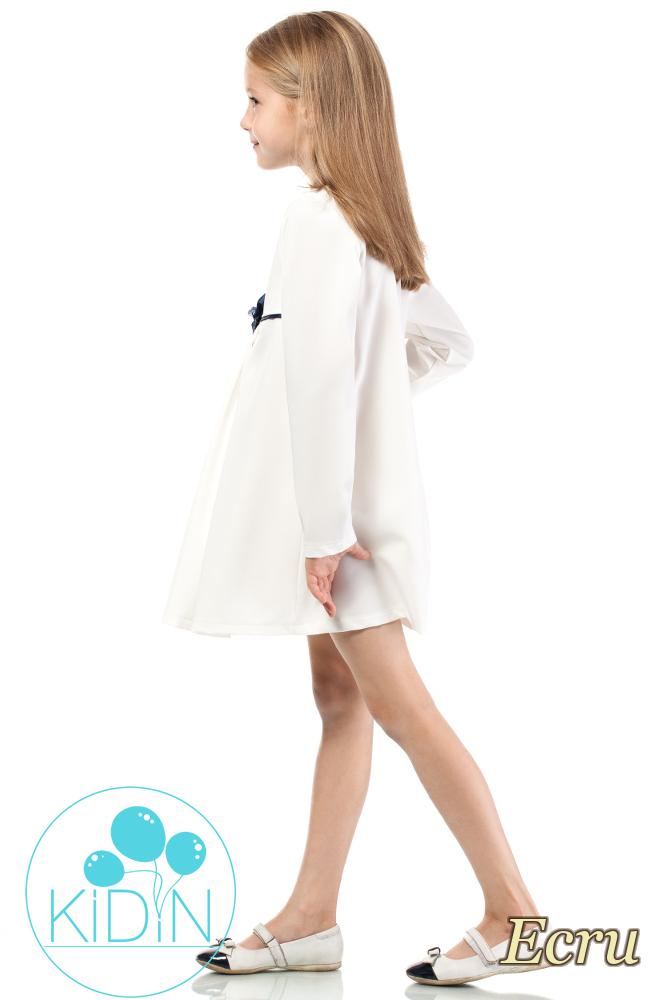 CM2040 Rozkloszowana sukienka dziewczęca z kokardką - ecru
