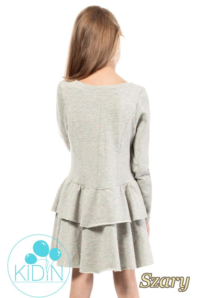 CM2041 Sukienka dziecięca w neonowe kropeczki - szara