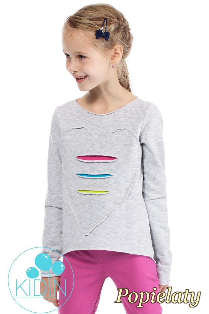 CM2030 Dziewczęca dresowa bluza z sercem - popielata