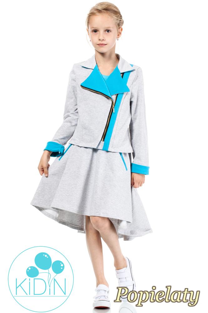 CM2033 Asymetryczna spódniczka bawełniana dla dziewczynki - popielata