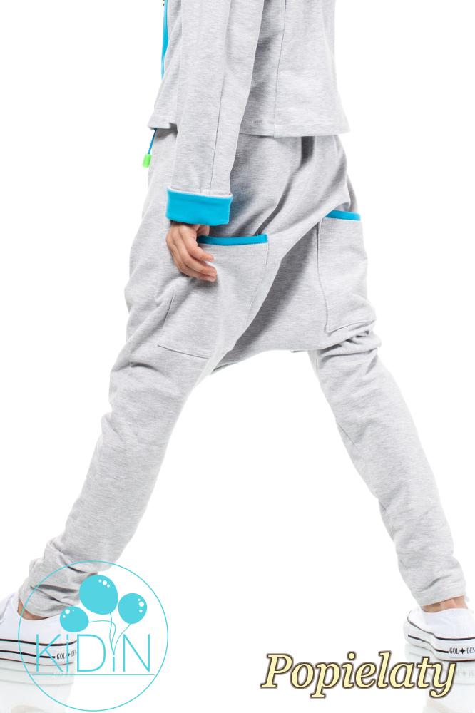 CM2035 Bawełniane spodnie o kroju baggy - popielate