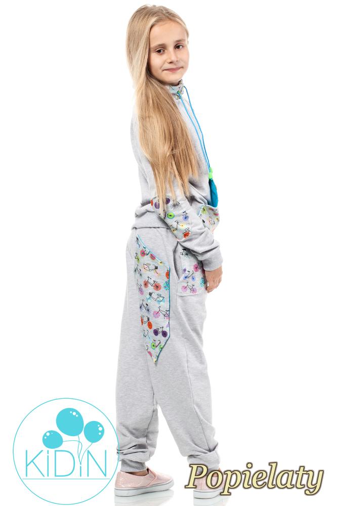 CM2039 Dziecięce dresowe spodnie z dużymi kieszeniami - popielate