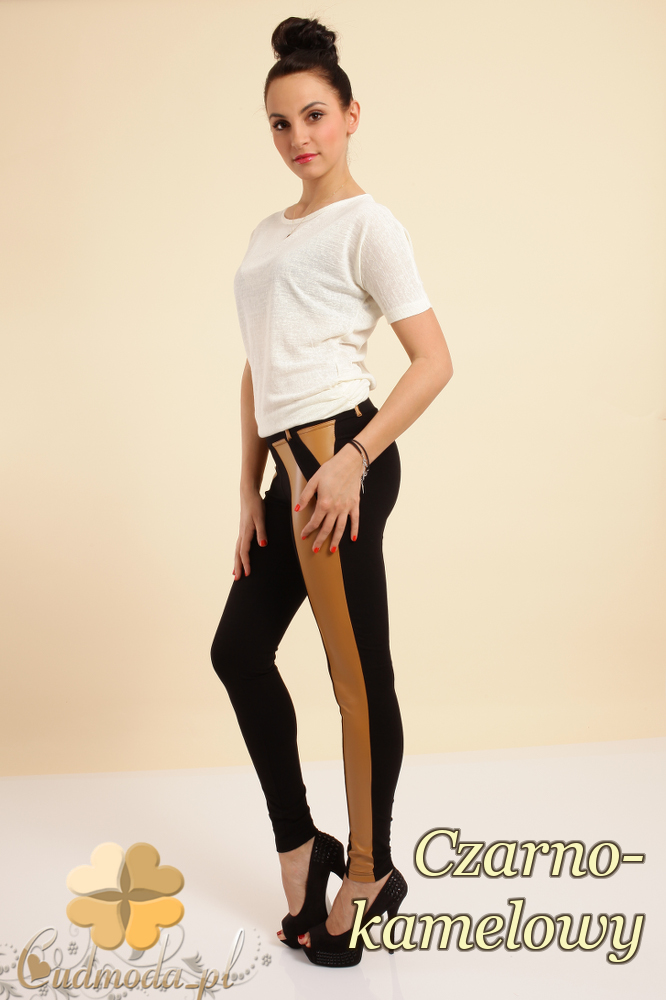 CM0237 Włoskie dwukolorowe legginsy ze skórzaną wstawką - czarno-kamelowe