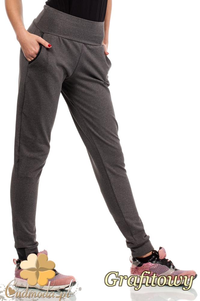 CM1854 Eleganckie dresowe spodnie na polarze z kieszeniami - grafitowe