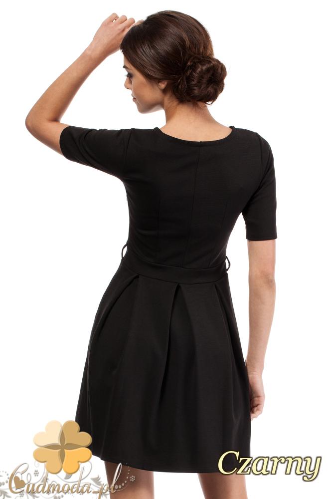 CM0224 Rozkloszowana sukienka kontrafałda z dzianiny - czarna