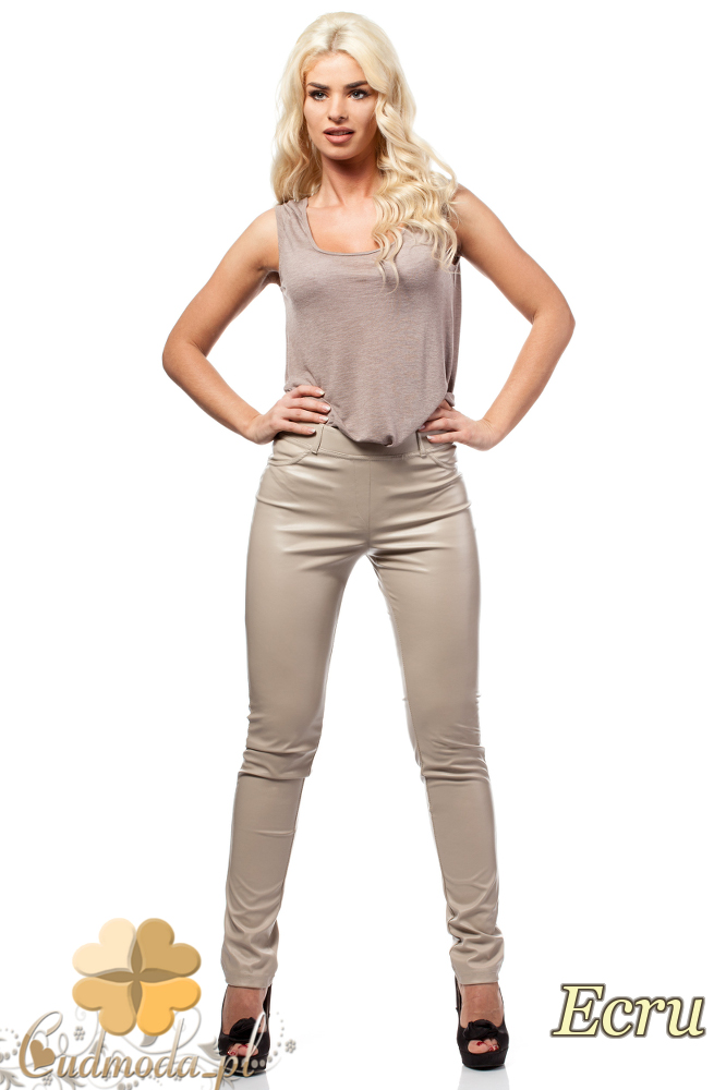 CM0029 Skórzane spodnie legginsy z kieszeniami - ecru