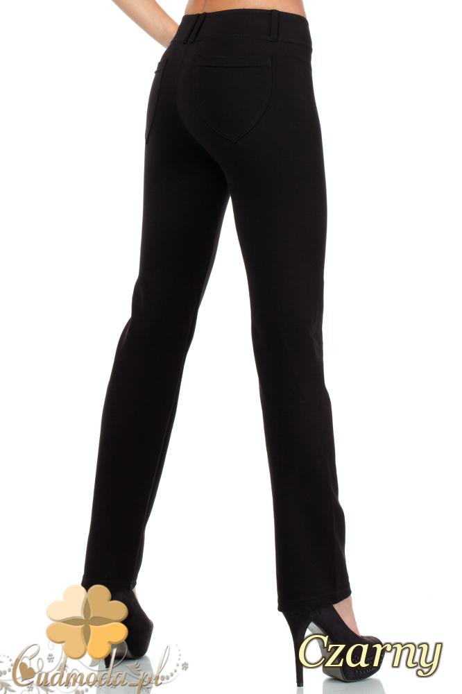 CM1913 Eleganckie spodnie z rozszerzającymi się na dole nogawkami - czarne