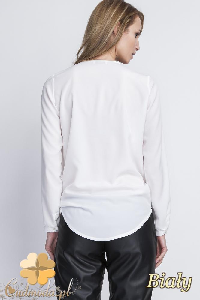 CM2056 Asymetryczna bluzka z zakładką - biała
