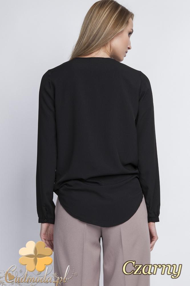 CM2056 Asymetryczna bluzka z zakładką - czarna