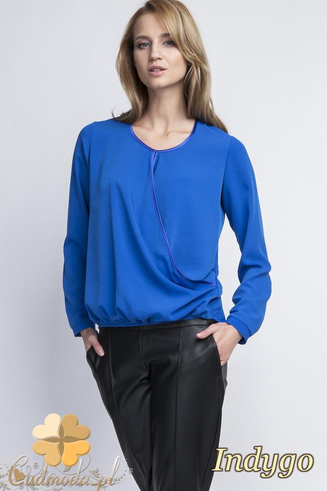 CM2056 Asymetryczna bluzka z zakładką - indygo