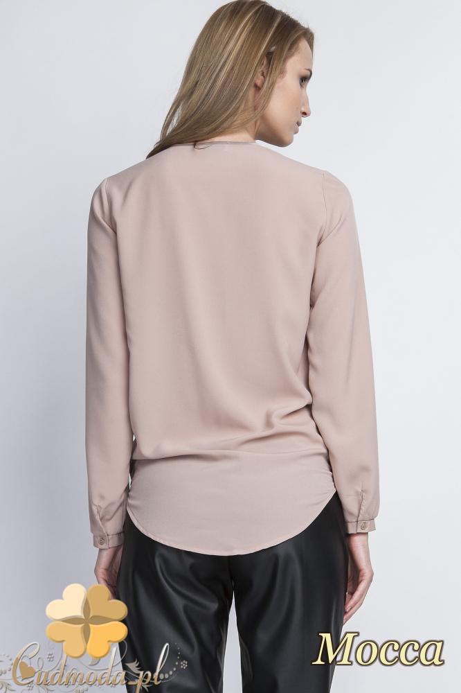 CM2056 Asymetryczna bluzka z zakładką - mocca
