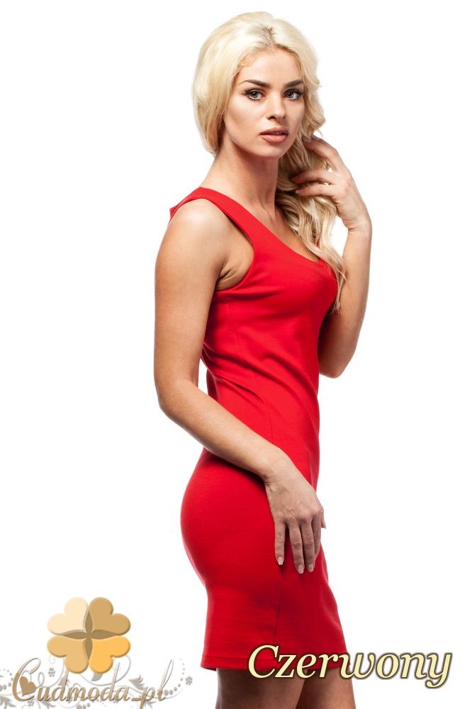 CM1692 Dopasowana sukienka ołówkowa na ramiączkach - czerwona
