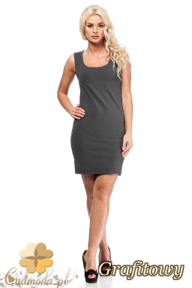 CM1692 Dopasowana sukienka ołówkowa na ramiączkach - grafitowa