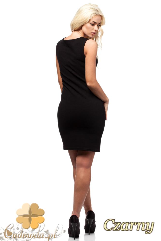 CM1692 Dopasowana sukienka ołówkowa na ramiączkach - czarna