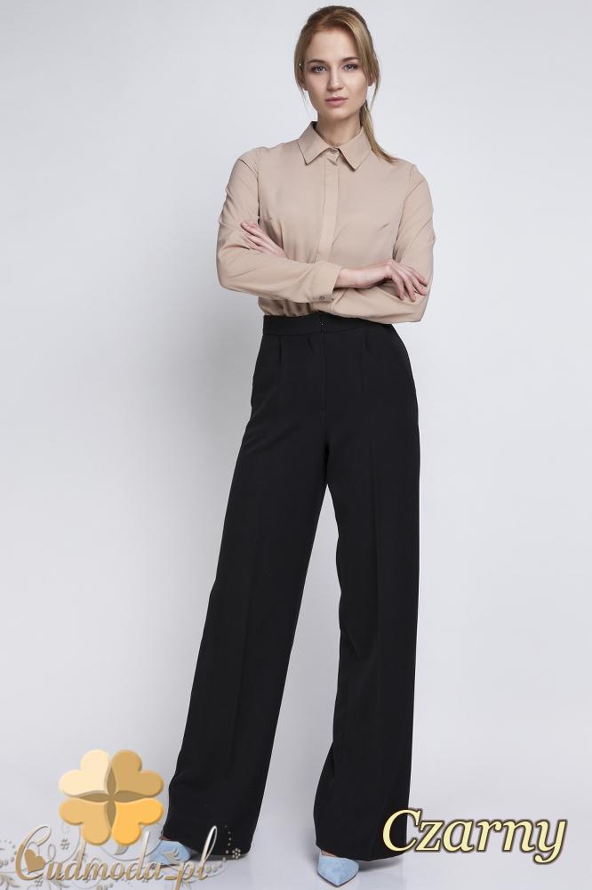CM2063 Eleganckie biurowe spodnie szwedy - czarne