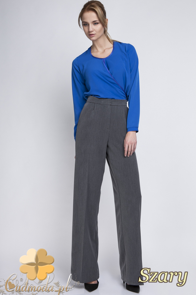 CM2063 Eleganckie biurowe spodnie szwedy - szare