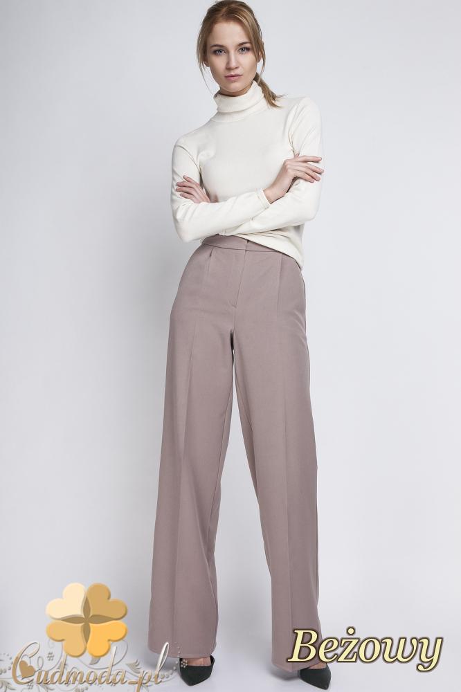 CM2063 Eleganckie biurowe spodnie szwedy - beżowe