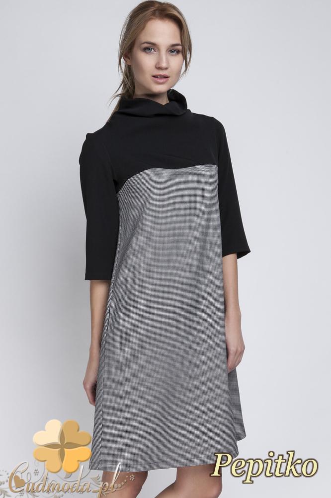 CM2065 Trapezowa sukienka mini z golfem - pepitko