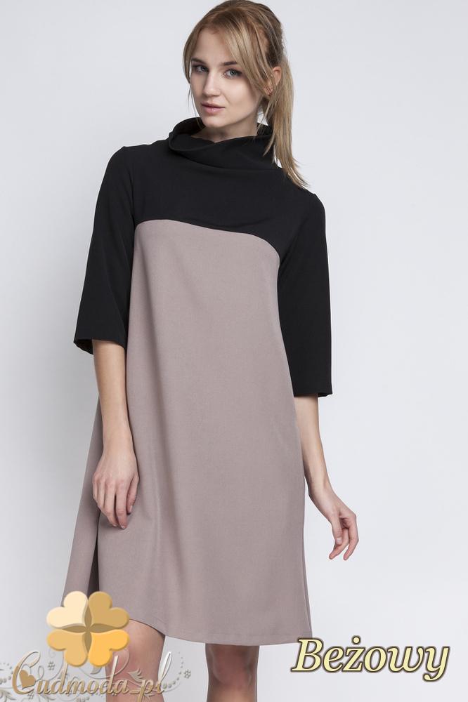 CM2065 Trapezowa sukienka mini z golfem - beżowa