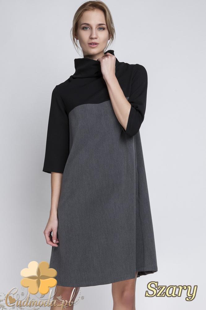 CM2065 Trapezowa sukienka mini z golfem - szara