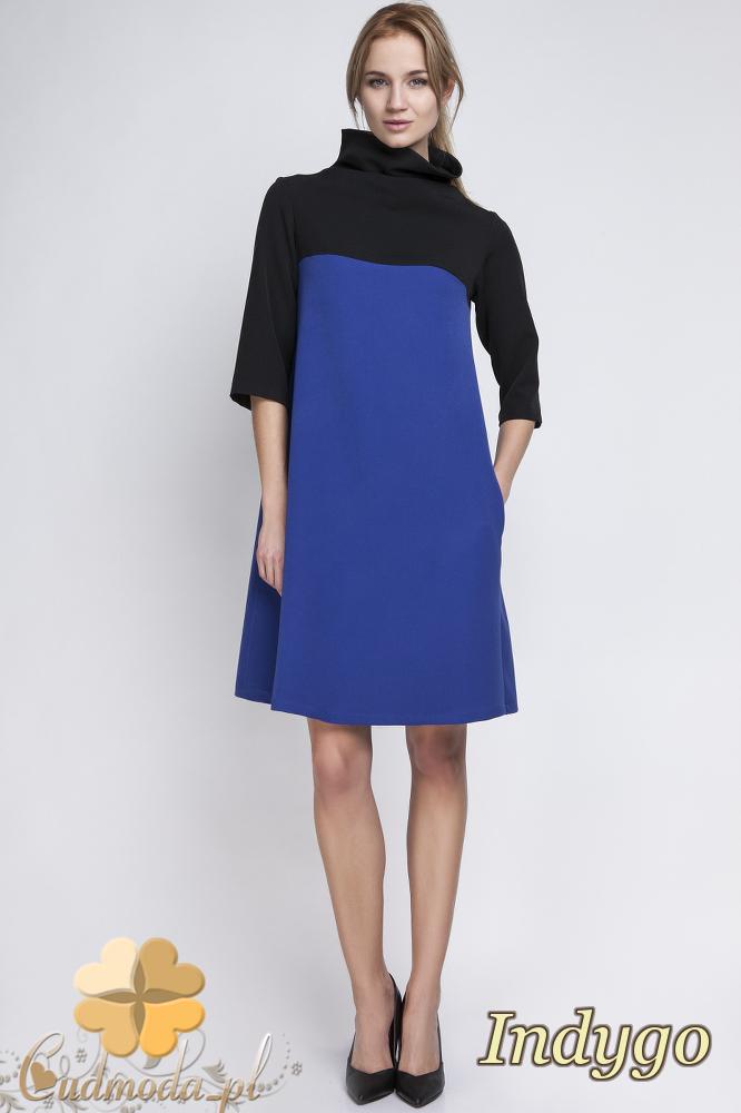 CM2065 Trapezowa sukienka mini z golfem - indygo