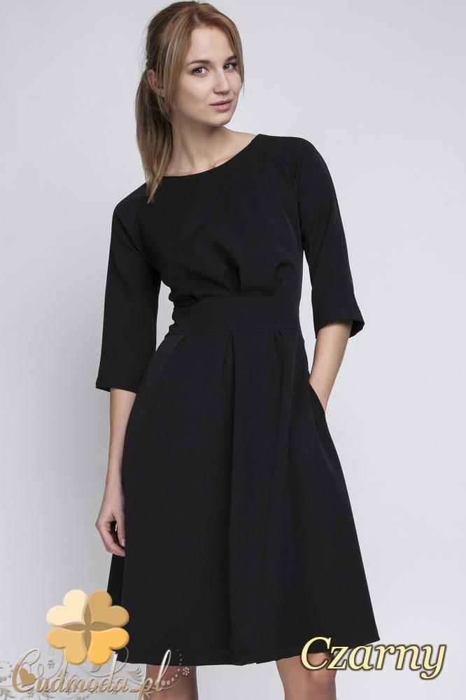 CM2066 Dopasowana w talii sukienka damska - czarna
