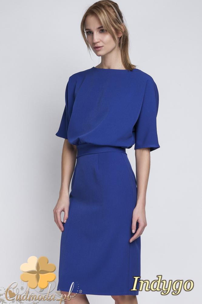 CM2067 Sukienka mini z luźną górą - indygo