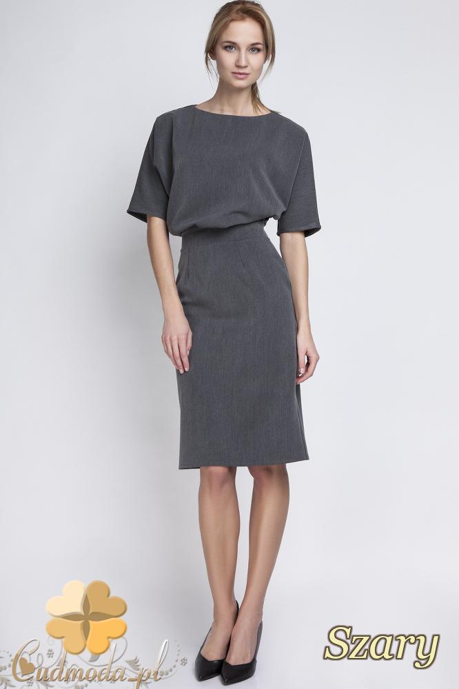 CM2067 Sukienka mini z luźną górą - szara