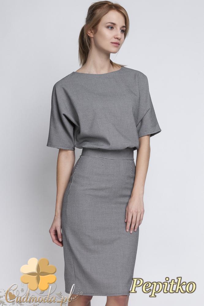 CM2067 Sukienka mini z luźną górą - pepitko