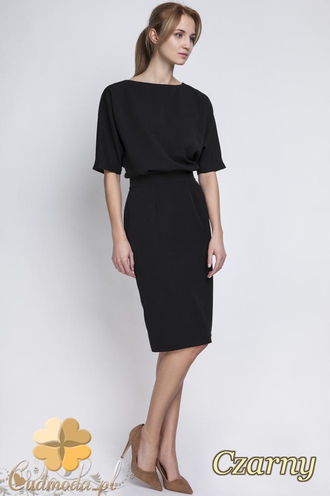 CM2067 Sukienka mini z luźną górą - czarna