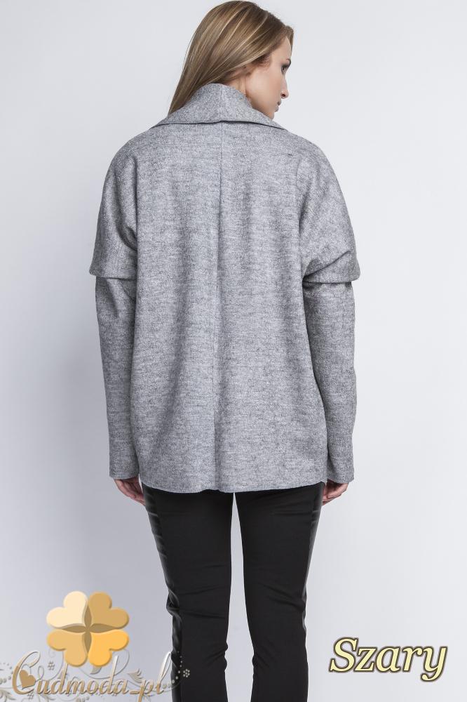 CM2068 Ciepły niezapinany sweter damski - szary
