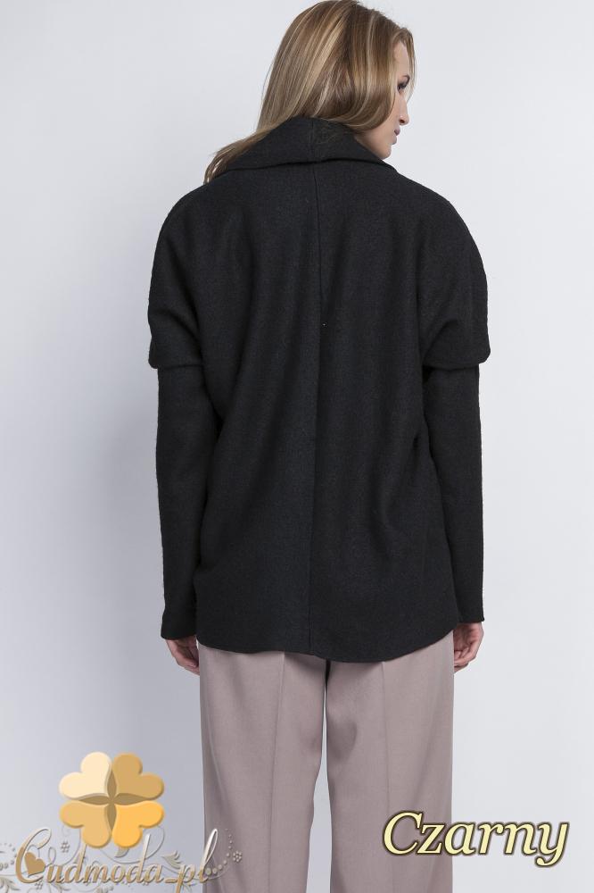 CM2068 Ciepły niezapinany sweter damski - czarny