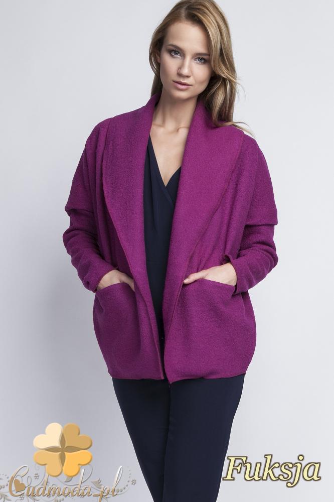 CM2068 Ciepły niezapinany sweter damski - fuksja