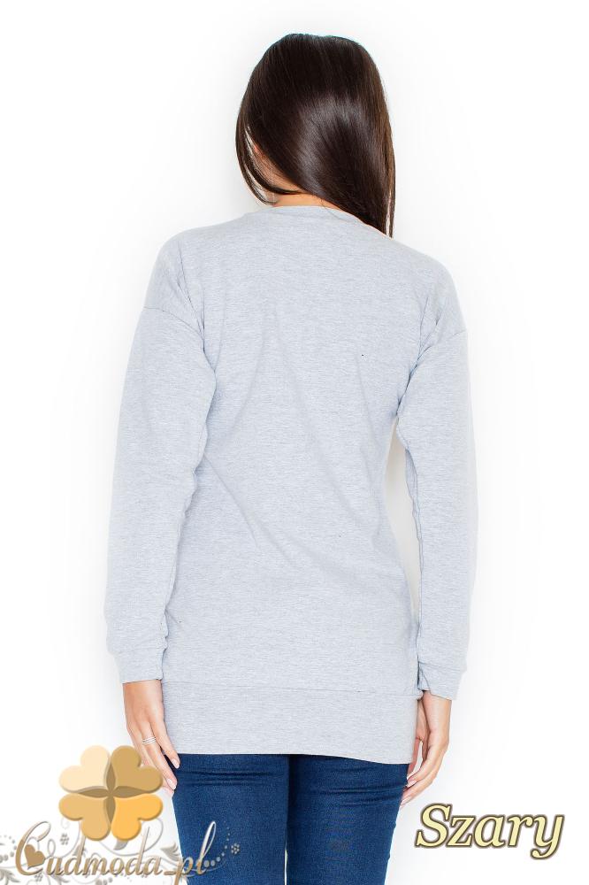 CM2070 Stylowa bluzka ze ściągaczem - szara