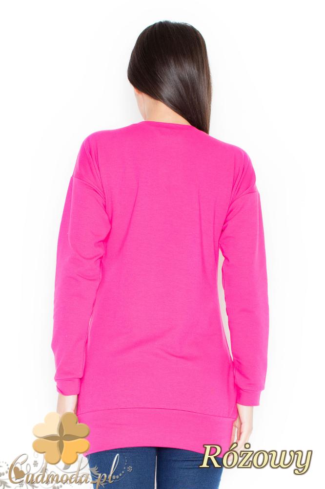 CM2070 Stylowa bluzka ze ściągaczem - różowa