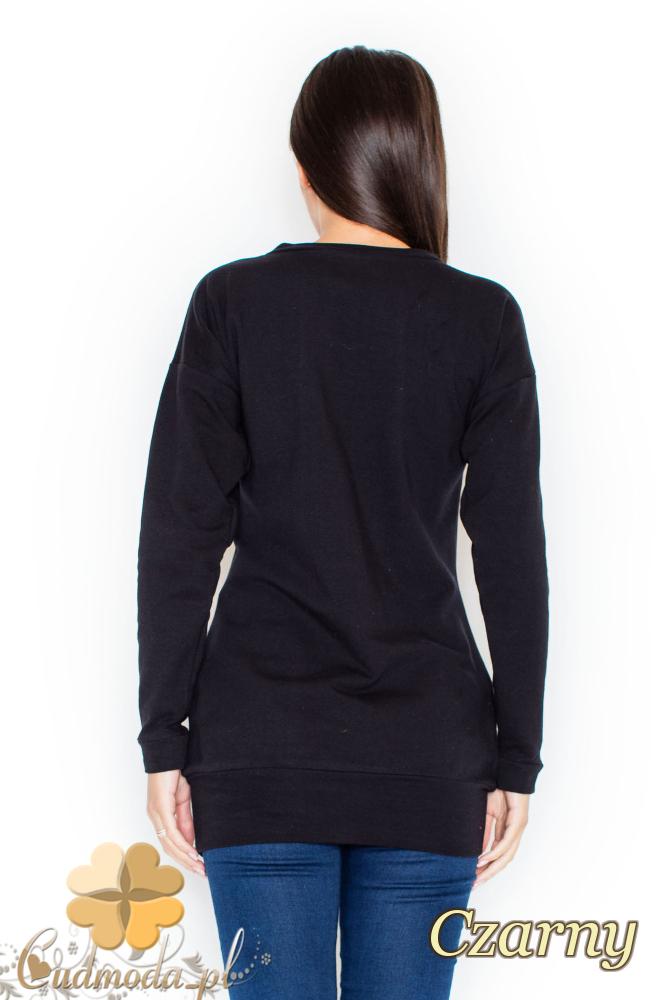 CM2070 Stylowa bluzka ze ściągaczem - czarna