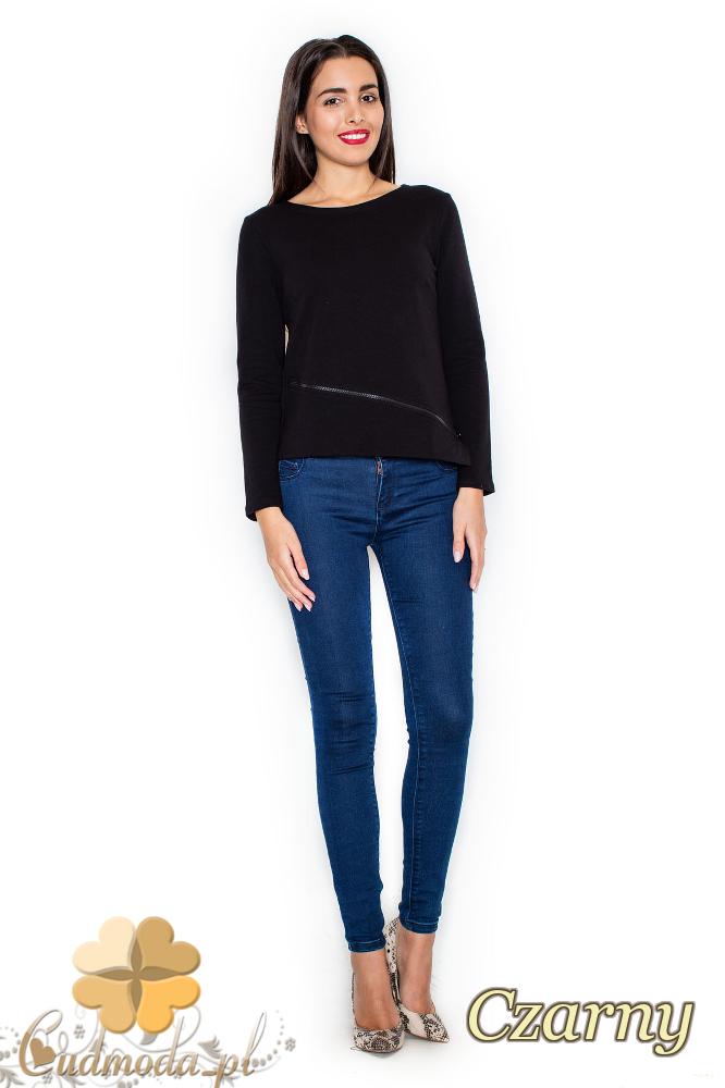 CM2076 Bawełniana bluzka damska z długim rękawem - czarna