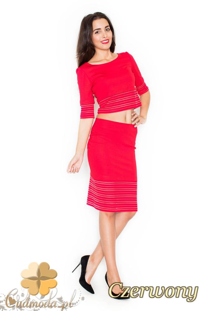 CM2077 Nowoczesny komplet - bluzka + spódnica - czerwony