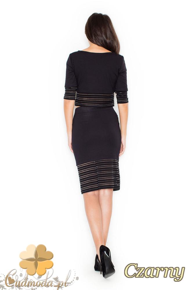 CM2077 Nowoczesny komplet - bluzka + spódnica - czarny