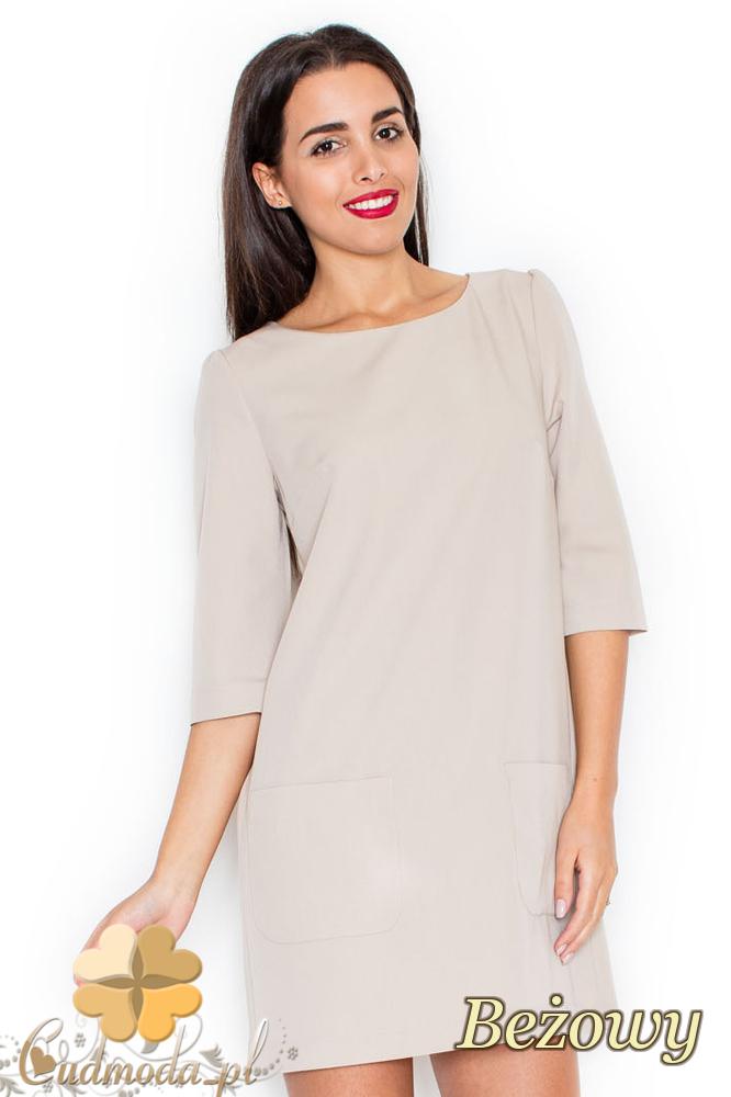 CM2078 Stylowa sukienka mini z kieszeniami po bokach - beżowa