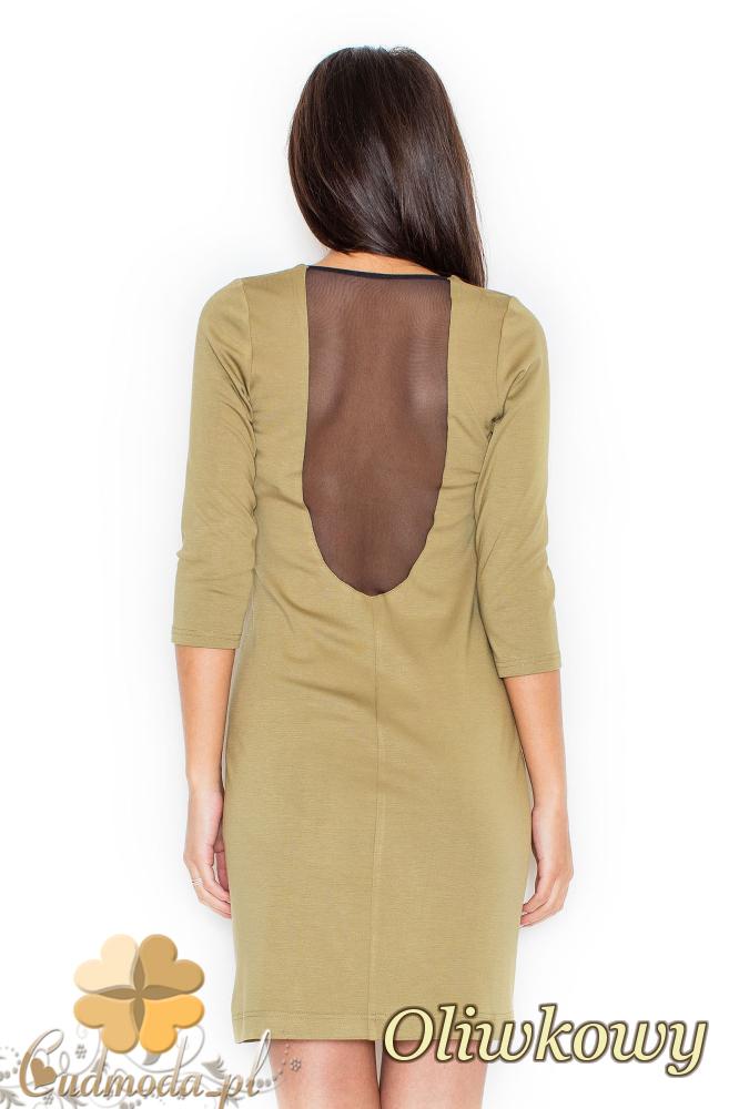 CM2079 Sukienka damska z przezroczystymi plecami - oliwkowa