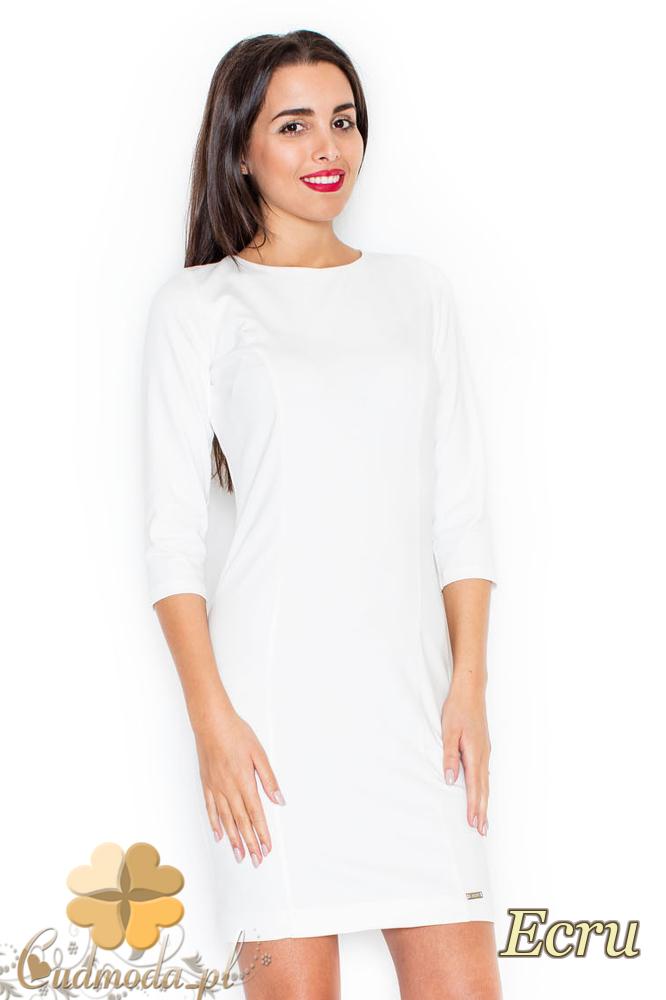 CM2079 Sukienka damska z przezroczystymi plecami - ecru
