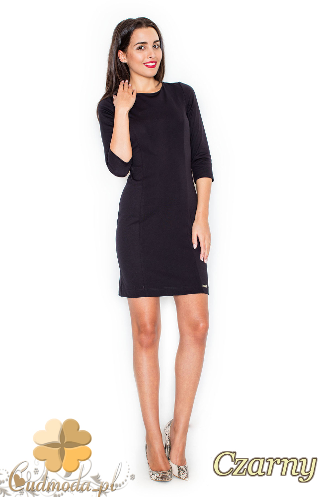 CM2079 Sukienka damska z przezroczystymi plecami - czarna