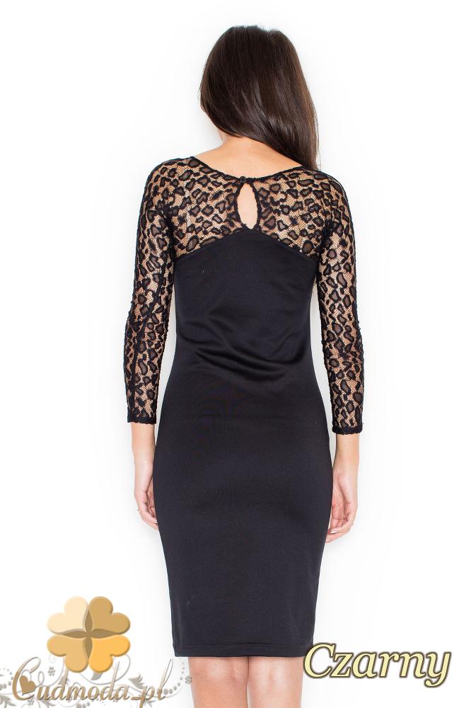 CM2081 Dopasowana sukienka z koronkową górą - czarna