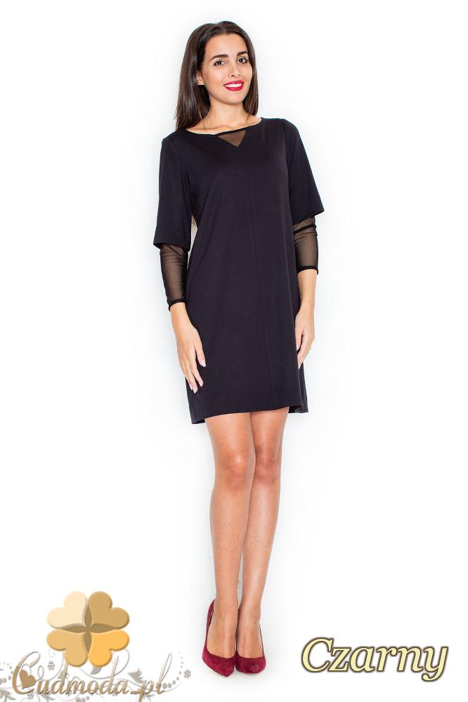 CM2082 Sukienka damska z szyfonowymi rękawami - czarna