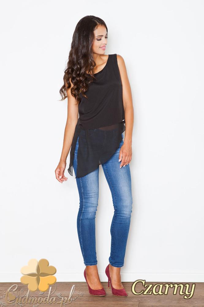 CM2084 Zwiewna szyfonowa bluzka bez rękawów - czarna