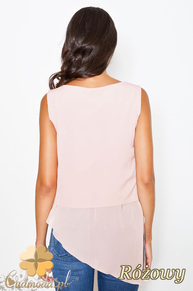 CM2084 Zwiewna szyfonowa bluzka bez rękawów - różowa