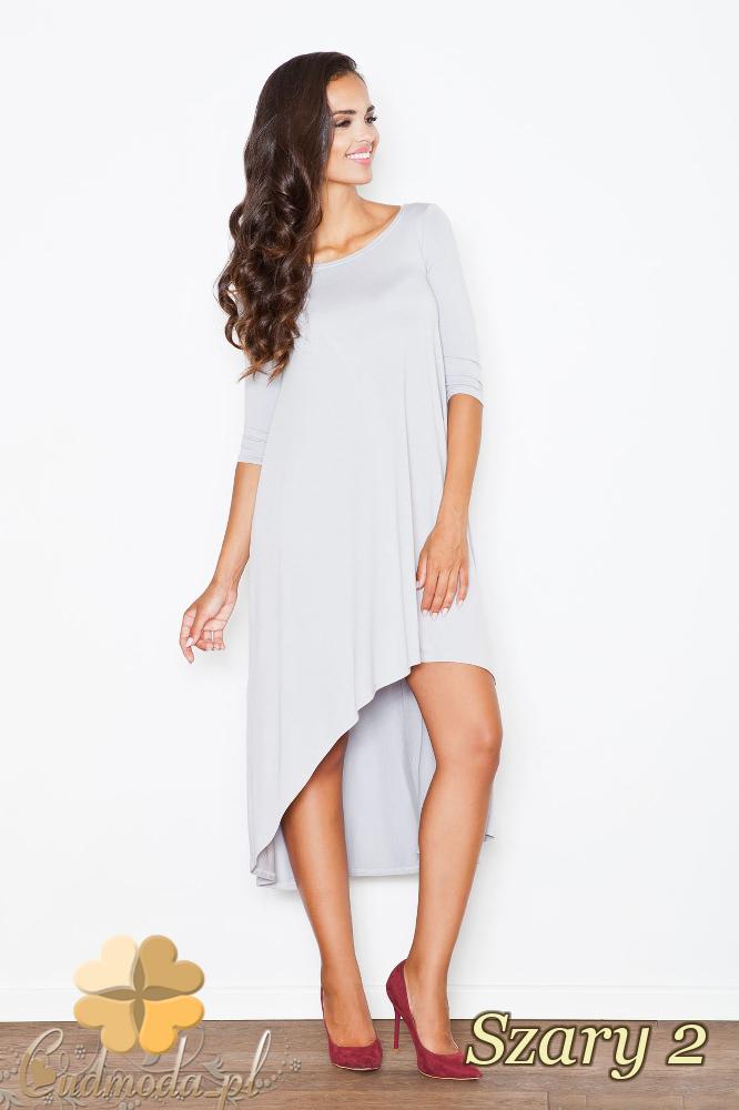 CM2085 Asymetryczna sukienka z fałdami - szara 2