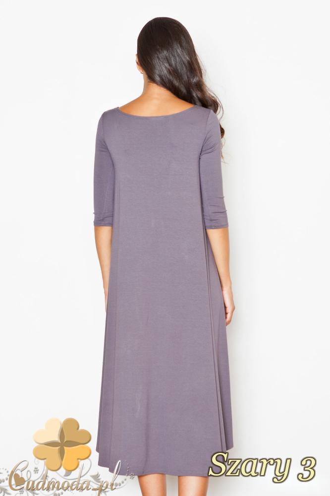 CM2085 Asymetryczna sukienka z fałdami - szara 3